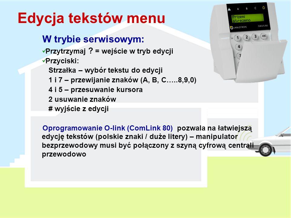 Edycja tekstów menu W trybie serwisowym: