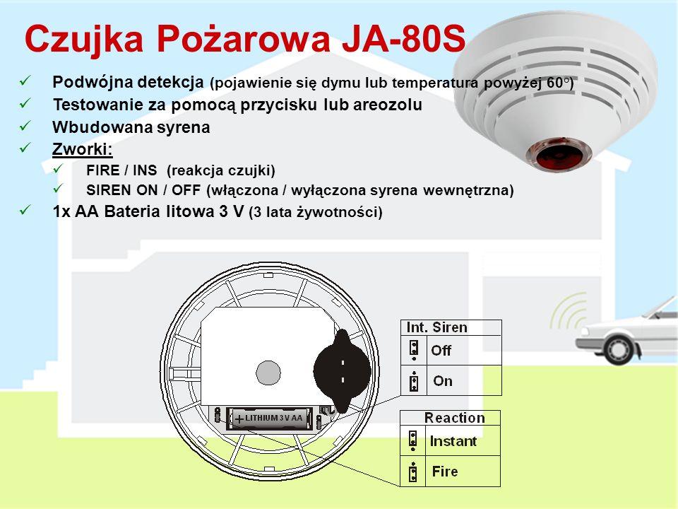 Czujka Pożarowa JA-80S Podwójna detekcja (pojawienie się dymu lub temperatura powyżej 60°) Testowanie za pomocą przycisku lub areozolu.