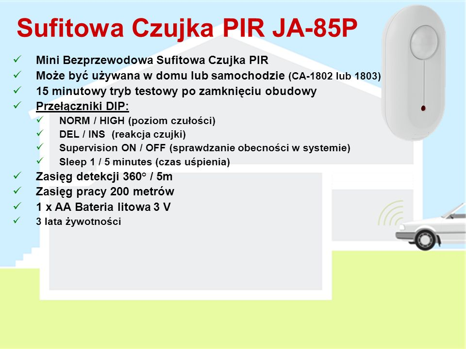 Sufitowa Czujka PIR JA-85P