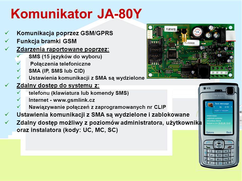 Komunikator JA-80Y Komunikacja poprzez GSM/GPRS Funkcja bramki GSM