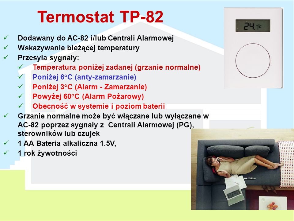 Termostat TP-82 Dodawany do AC-82 i/lub Centrali Alarmowej