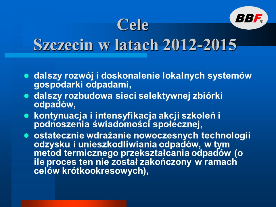 Cele Szczecin w latach 2012-2015