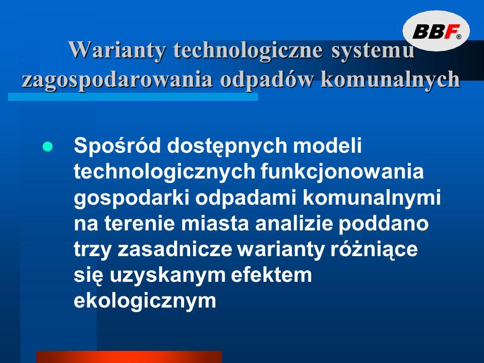 Warianty technologiczne systemu zagospodarowania odpadów komunalnych