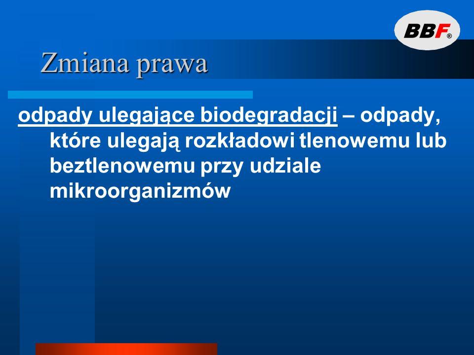 Zmiana prawaodpady ulegające biodegradacji – odpady, które ulegają rozkładowi tlenowemu lub beztlenowemu przy udziale mikroorganizmów.