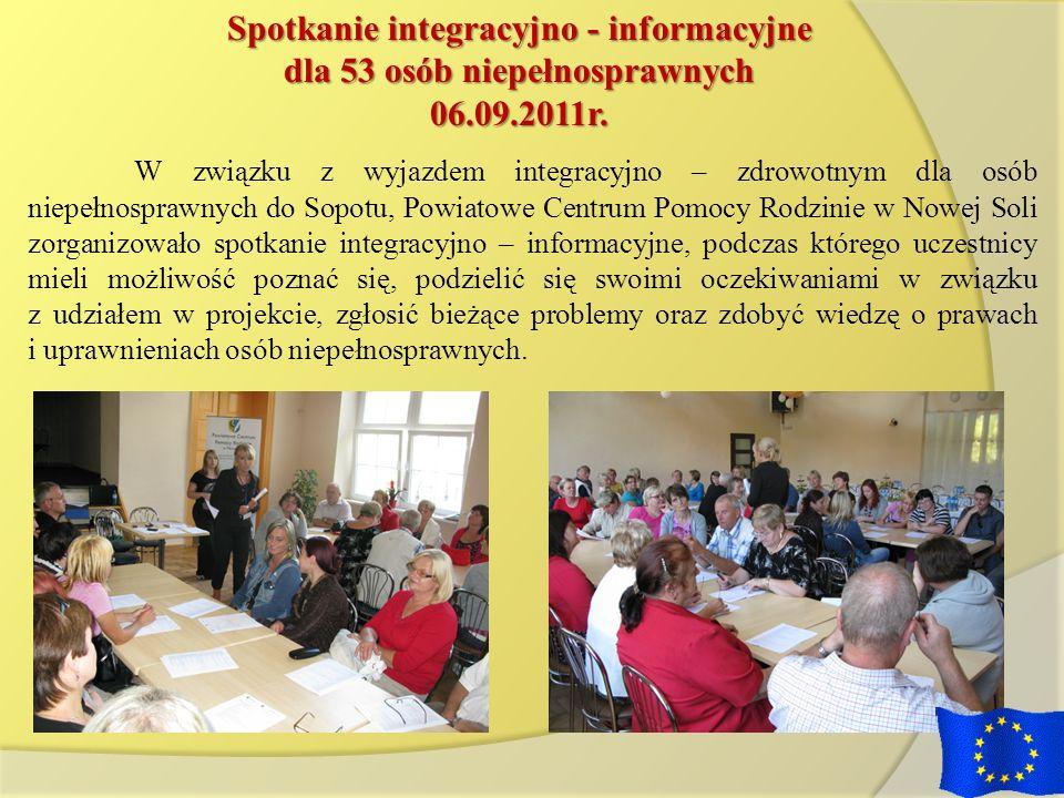 Spotkanie integracyjno - informacyjne dla 53 osób niepełnosprawnych