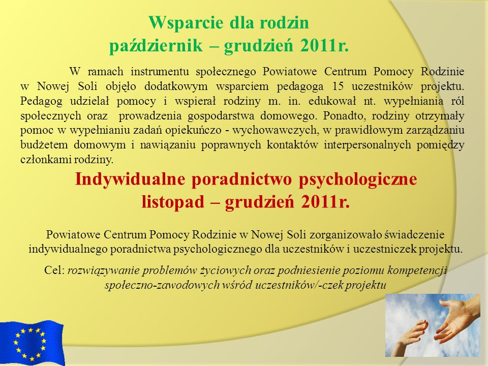 październik – grudzień 2011r. Indywidualne poradnictwo psychologiczne