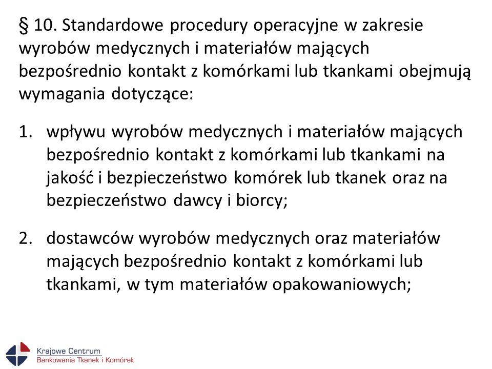 § 10. Standardowe procedury operacyjne w zakresie