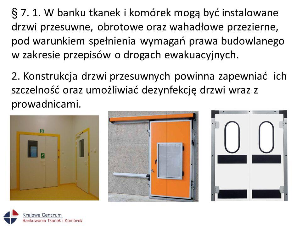 § 7. 1. W banku tkanek i komórek mogą być instalowane drzwi przesuwne, obrotowe oraz wahadłowe przezierne, pod warunkiem spełnienia wymagań prawa budowlanego w zakresie przepisów o drogach ewakuacyjnych.
