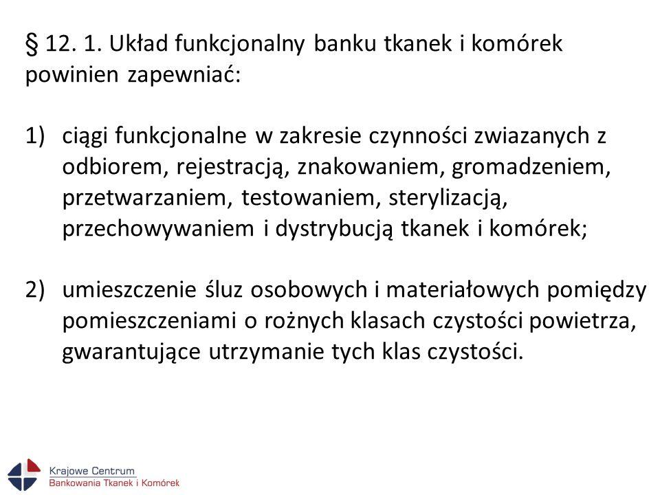§ 12. 1. Układ funkcjonalny banku tkanek i komórek powinien zapewniać: