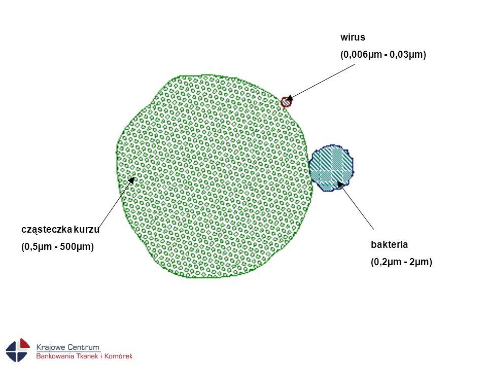wirus (0,006µm - 0,03µm) cząsteczka kurzu (0,5µm - 500µm) bakteria (0,2µm - 2µm)