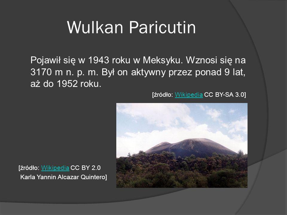 Wulkan Paricutin Pojawił się w 1943 roku w Meksyku. Wznosi się na 3170 m n. p. m. Był on aktywny przez ponad 9 lat, aż do 1952 roku.