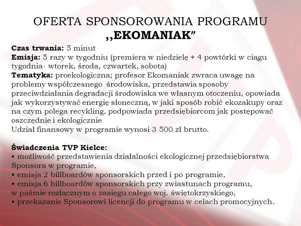 OFERTA SPONSOROWANIA PROGRAMU ,,EKOMANIAK