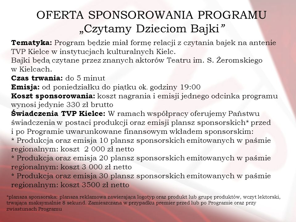 """OFERTA SPONSOROWANIA PROGRAMU """"Czytamy Dzieciom Bajki"""