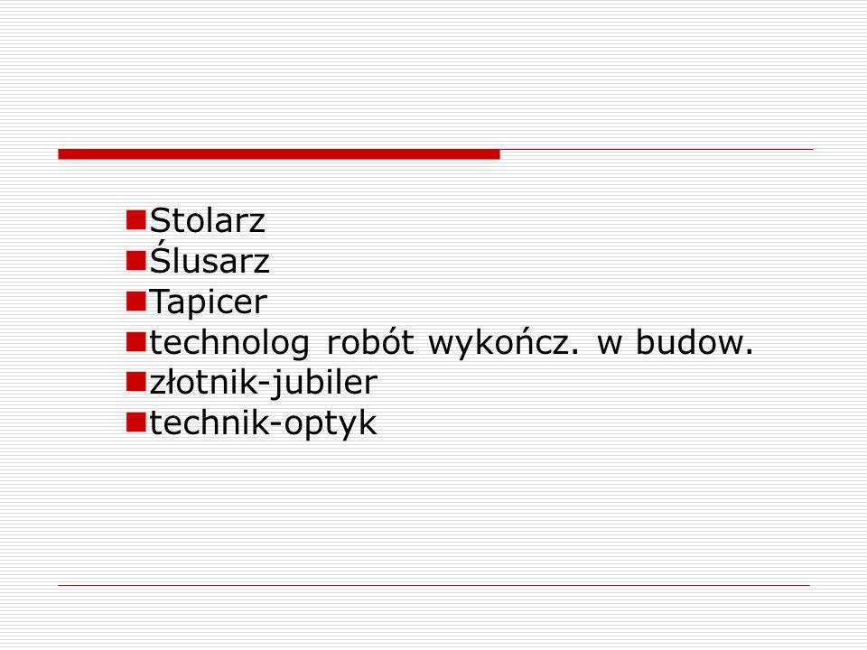Stolarz Ślusarz Tapicer technolog robót wykończ. w budow. złotnik-jubiler technik-optyk