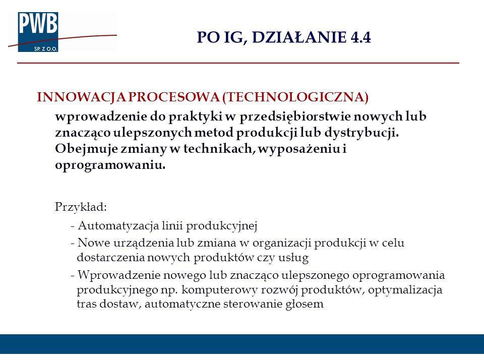 PO IG, DZIAŁANIE 4.4 Przykład: INNOWACJA PROCESOWA (TECHNOLOGICZNA)