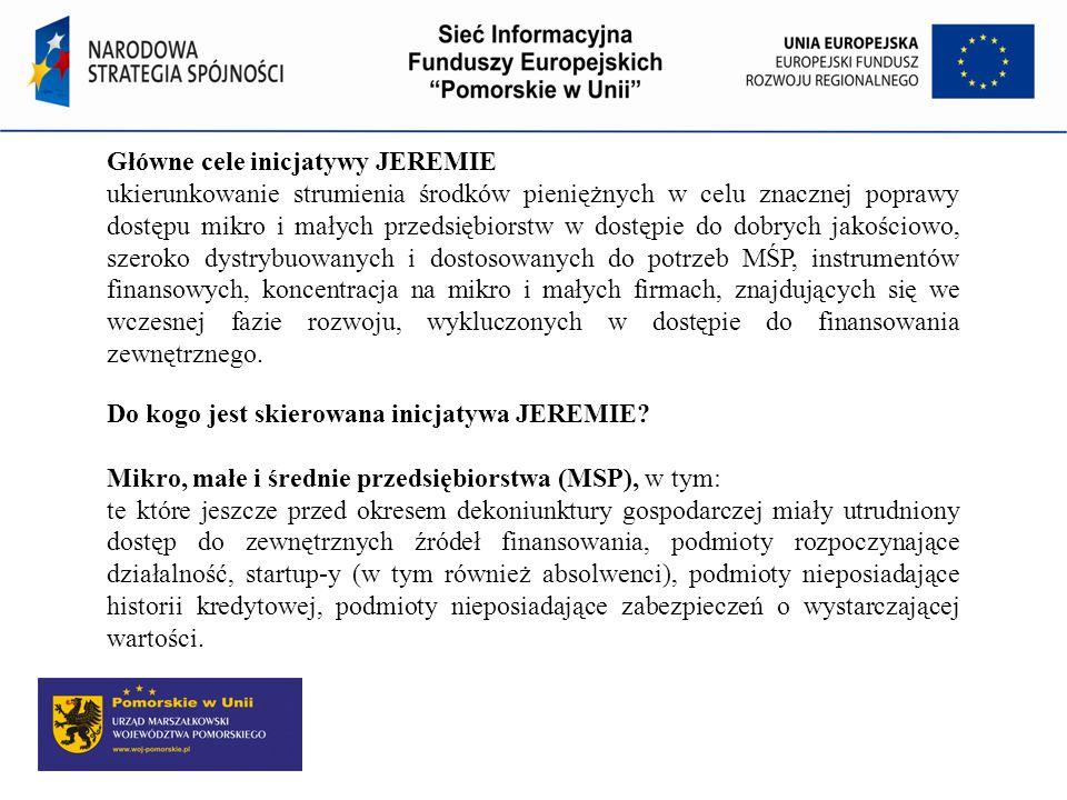 Główne cele inicjatywy JEREMIE