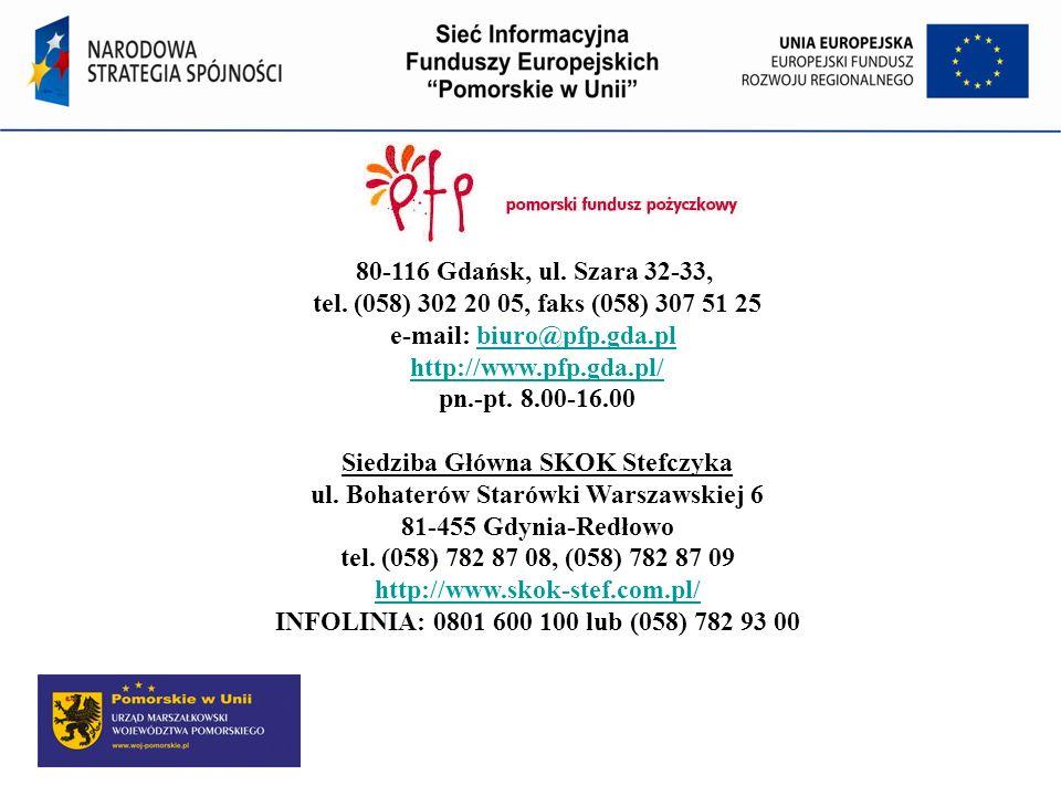 80-116 Gdańsk, ul. Szara 32-33, tel. (058) 302 20 05, faks (058) 307 51 25 e-mail: biuro@pfp.gda.pl http://www.pfp.gda.pl/ pn.-pt. 8.00-16.00 Siedziba Główna SKOK Stefczyka ul. Bohaterów Starówki Warszawskiej 6 81-455 Gdynia-Redłowo tel. (058) 782 87 08, (058) 782 87 09 http://www.skok-stef.com.pl/