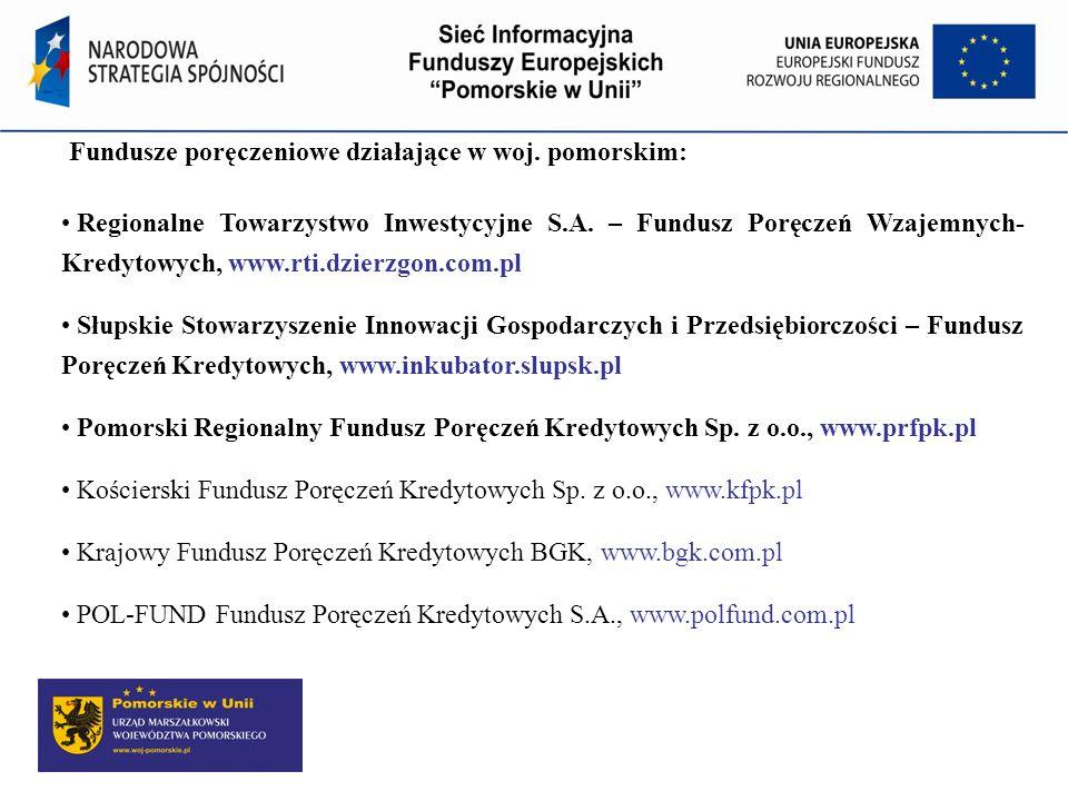 Fundusze poręczeniowe działające w woj. pomorskim: