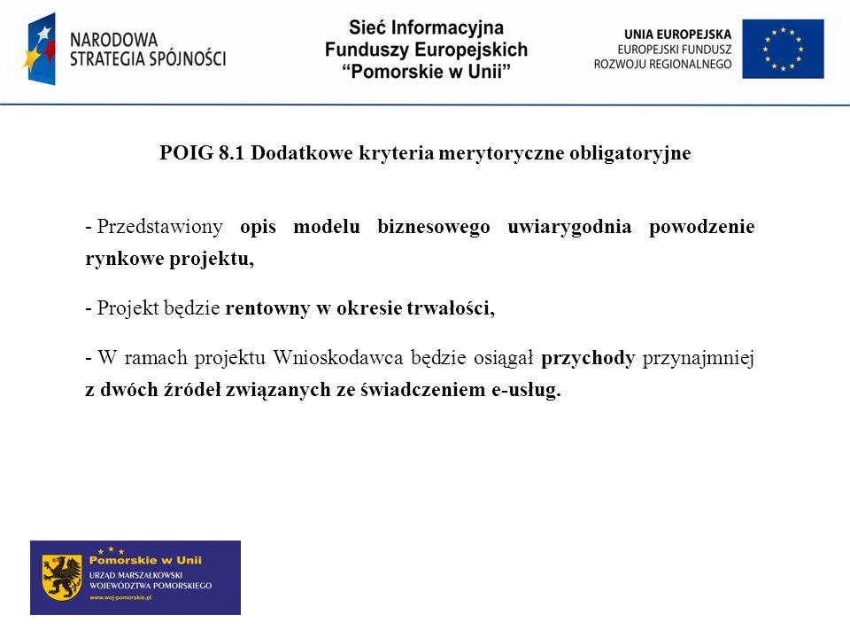 POIG 8.1 Dodatkowe kryteria merytoryczne obligatoryjne
