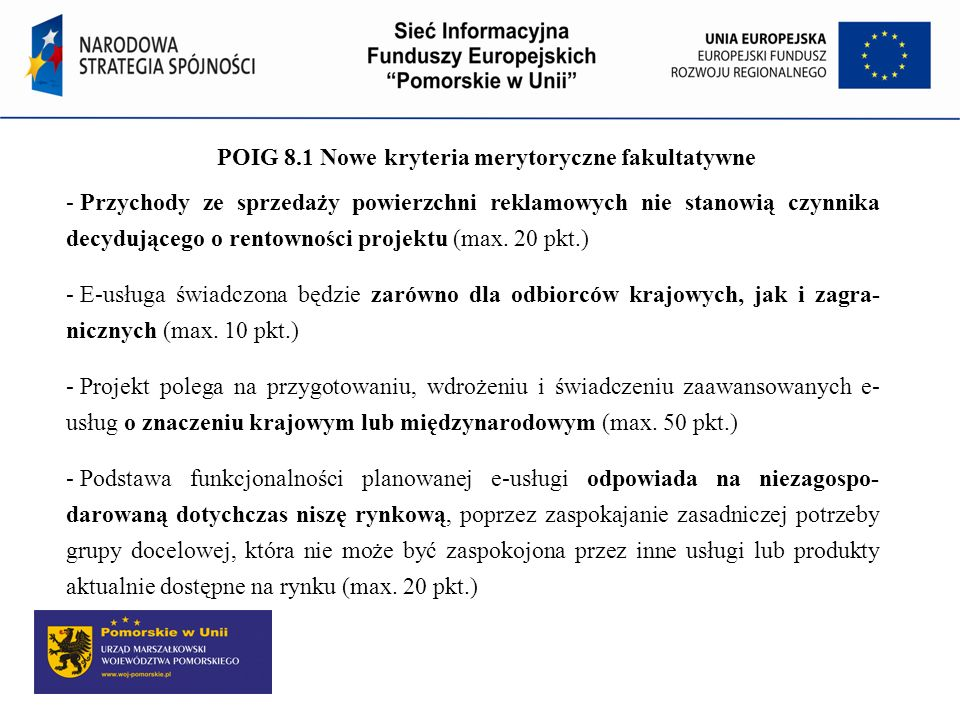 POIG 8.1 Nowe kryteria merytoryczne fakultatywne