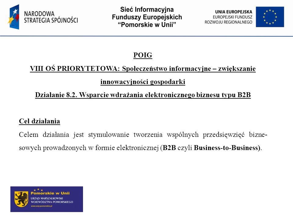 Działanie 8.2. Wsparcie wdrażania elektronicznego biznesu typu B2B