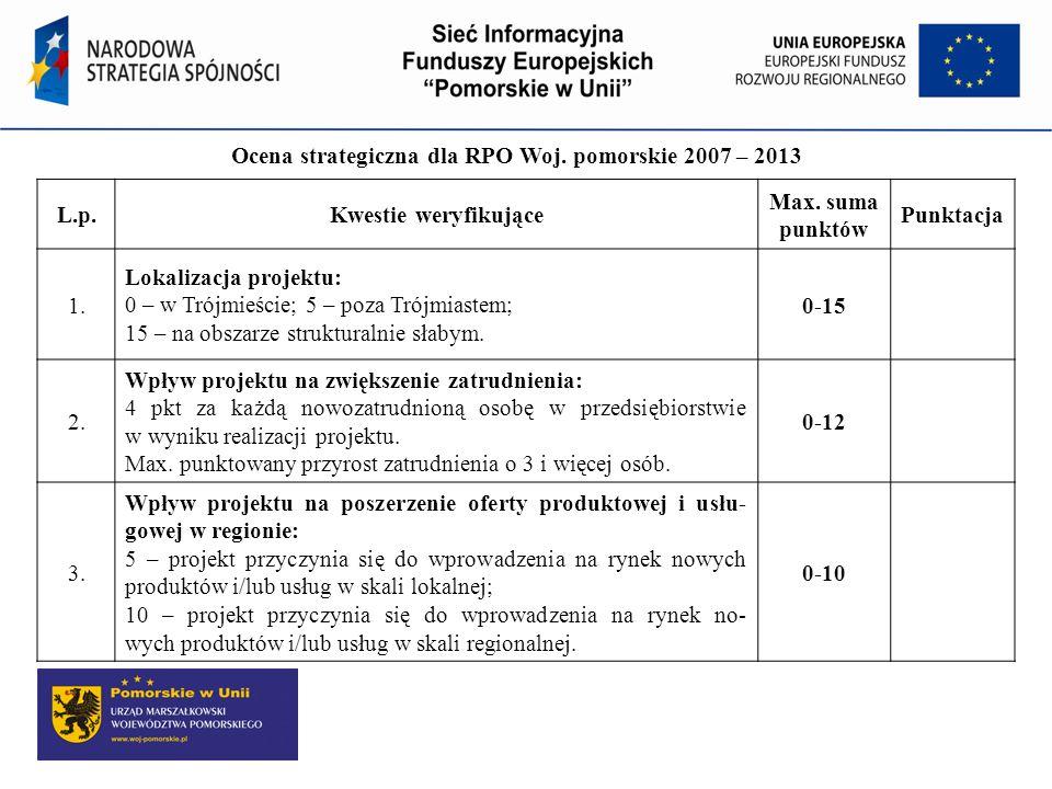 Ocena strategiczna dla RPO Woj. pomorskie 2007 – 2013