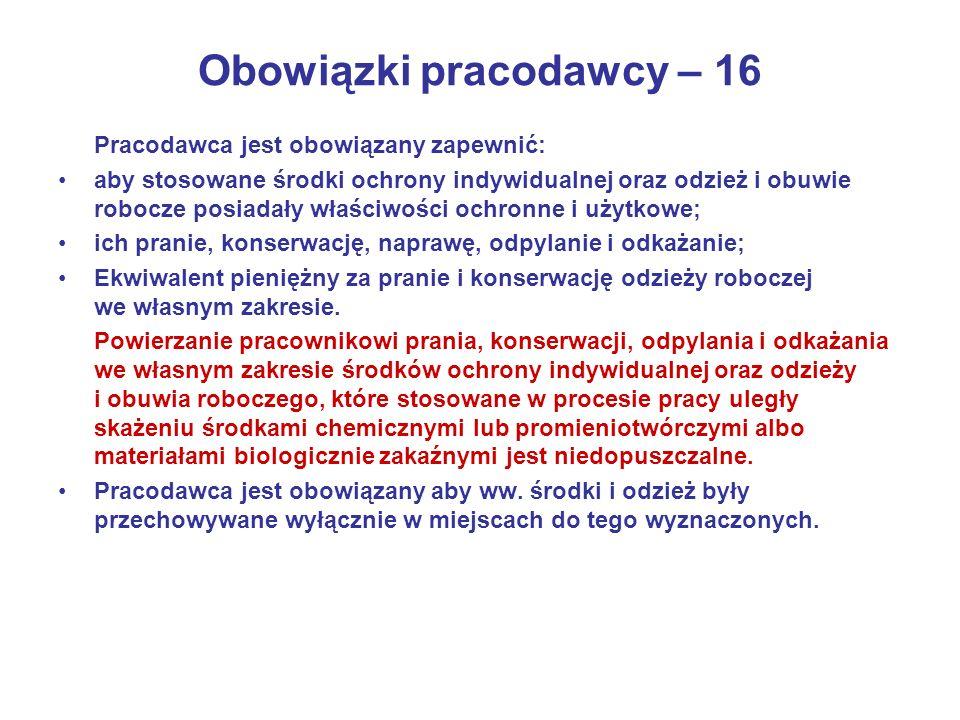 Obowiązki pracodawcy – 16
