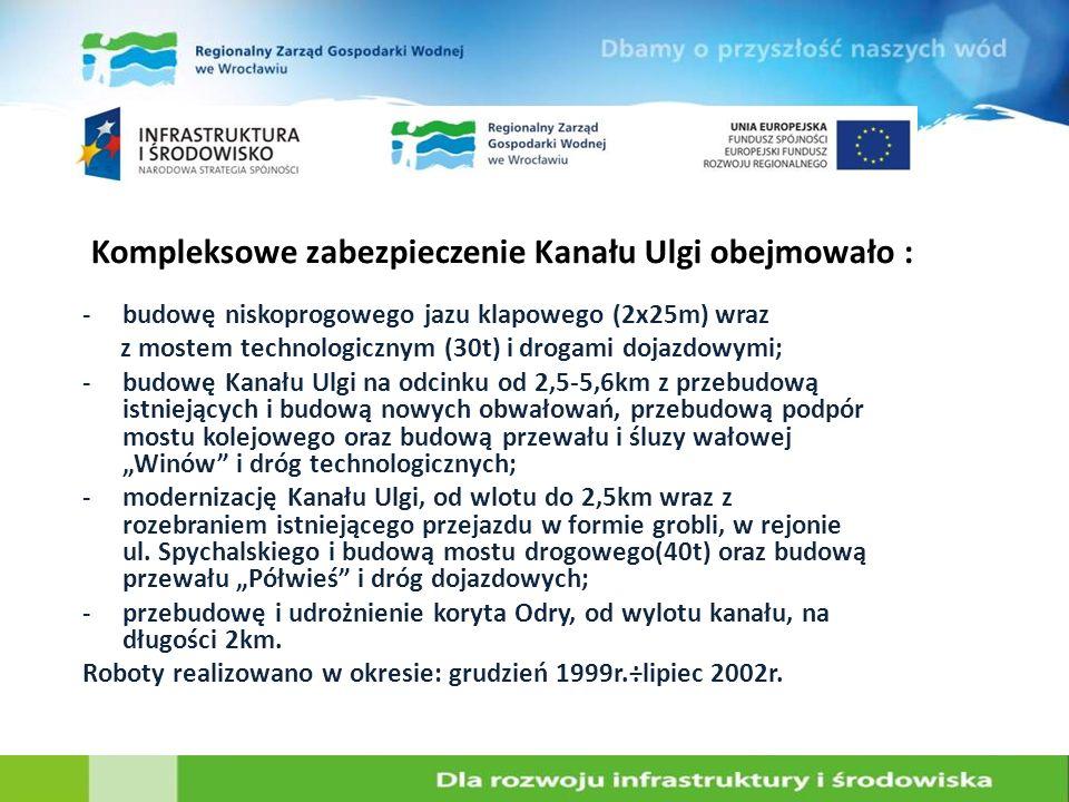 Kompleksowe zabezpieczenie Kanału Ulgi obejmowało :