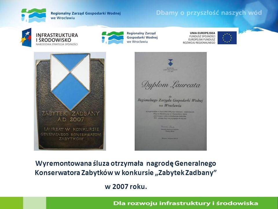 """Wyremontowana śluza otrzymała nagrodę Generalnego Konserwatora Zabytków w konkursie """"Zabytek Zadbany"""