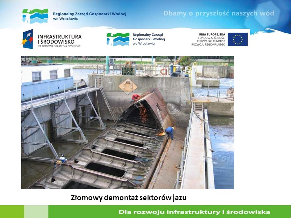 Złomowy demontaż sektorów jazu