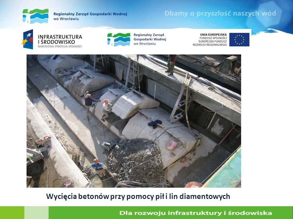 Wycięcia betonów przy pomocy pił i lin diamentowych