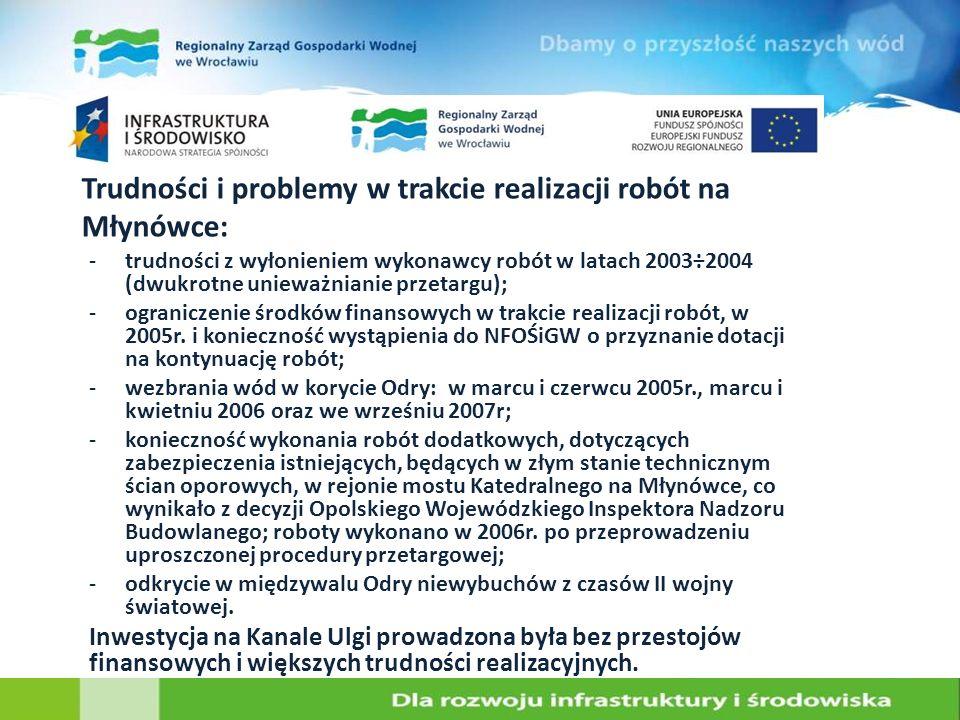 Trudności i problemy w trakcie realizacji robót na Młynówce:
