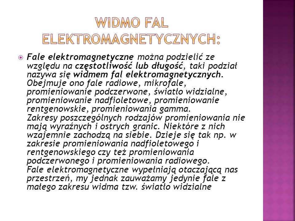 widmo fal elektromagnetycznych: