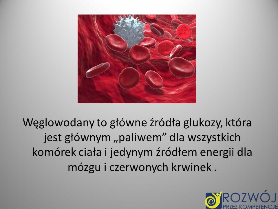 """Węglowodany to główne źródła glukozy, która jest głównym """"paliwem dla wszystkich komórek ciała i jedynym źródłem energii dla mózgu i czerwonych krwinek ."""