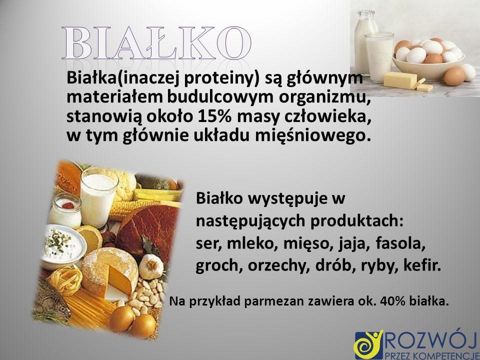 Białko Białka(inaczej proteiny) są głównym materiałem budulcowym organizmu, stanowią około 15% masy człowieka, w tym głównie układu mięśniowego.
