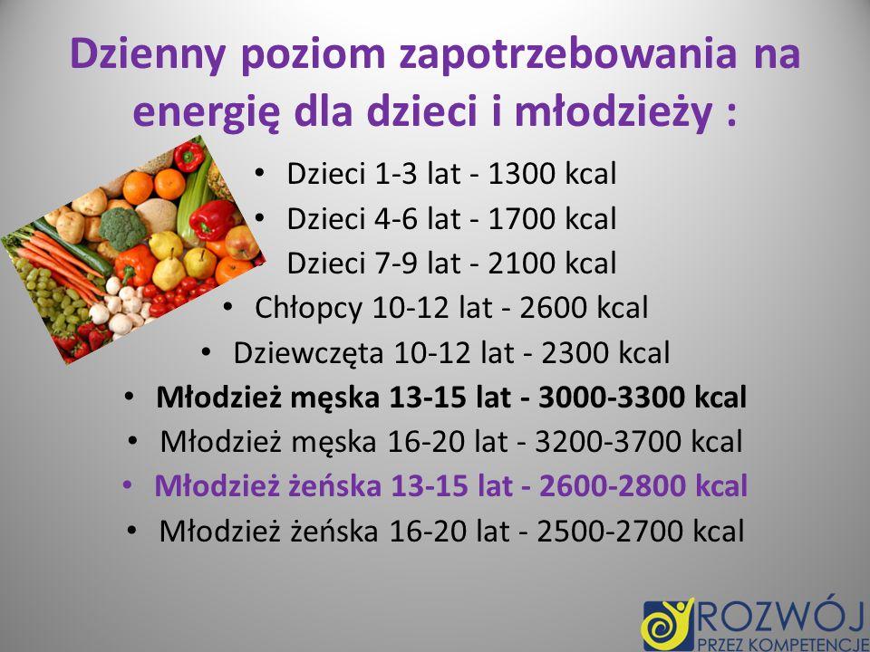 Dzienny poziom zapotrzebowania na energię dla dzieci i młodzieży :