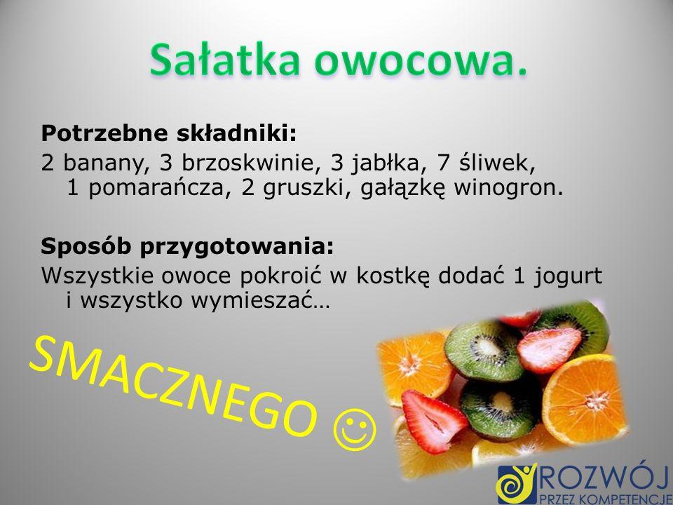 SMACZNEGO  Sałatka owocowa. Potrzebne składniki: