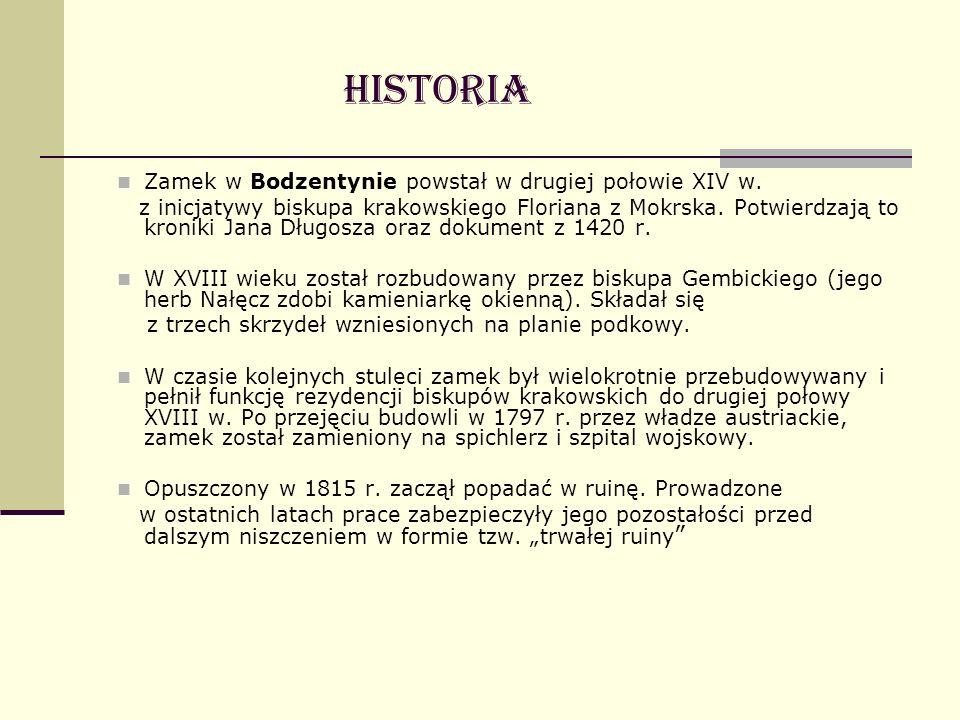 Historia Zamek w Bodzentynie powstał w drugiej połowie XIV w.