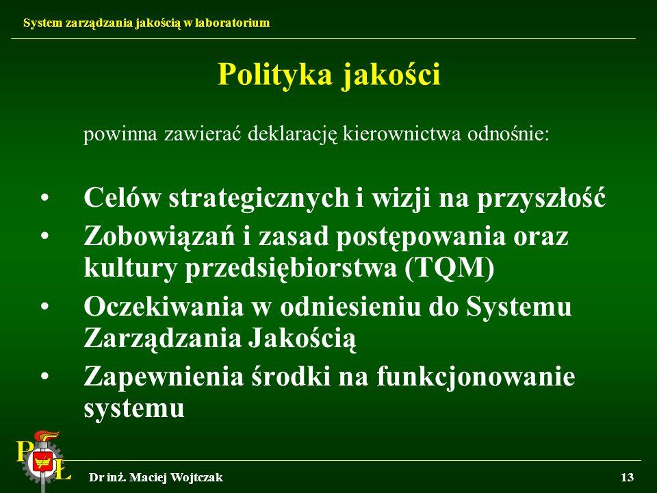 Polityka jakości Celów strategicznych i wizji na przyszłość