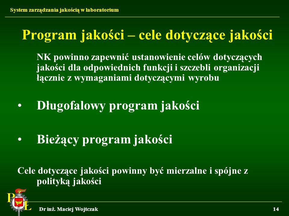 Program jakości – cele dotyczące jakości