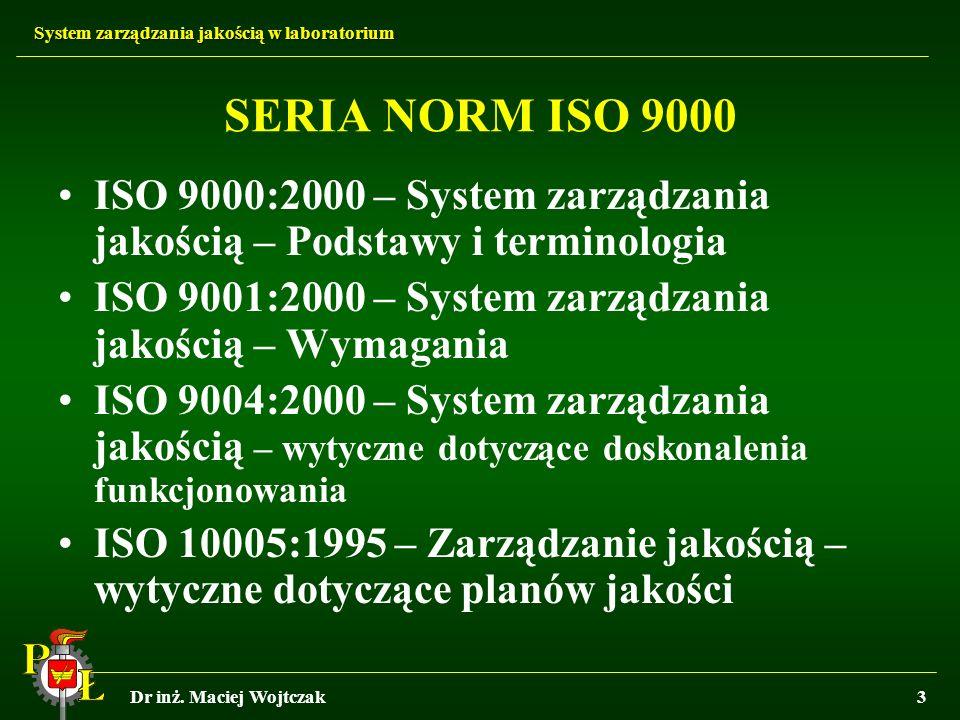 SERIA NORM ISO 9000 ISO 9000:2000 – System zarządzania jakością – Podstawy i terminologia. ISO 9001:2000 – System zarządzania jakością – Wymagania.