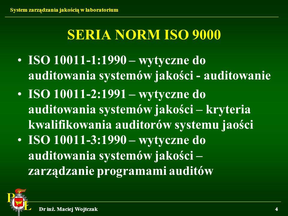 SERIA NORM ISO 9000 ISO 10011-1:1990 – wytyczne do auditowania systemów jakości - auditowanie.