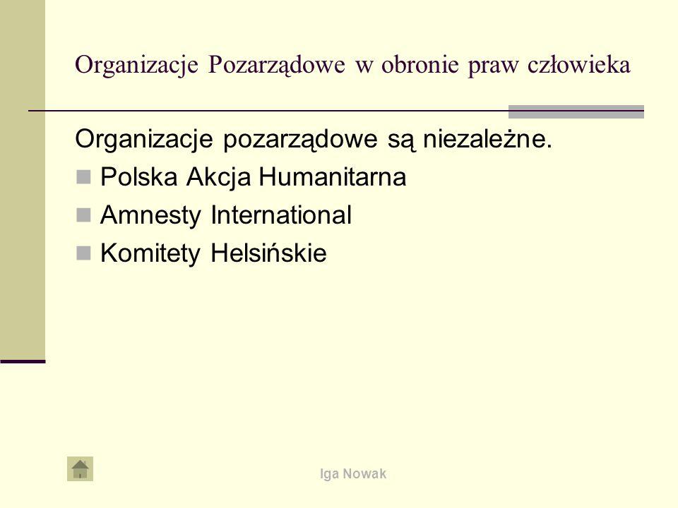 Organizacje Pozarządowe w obronie praw człowieka