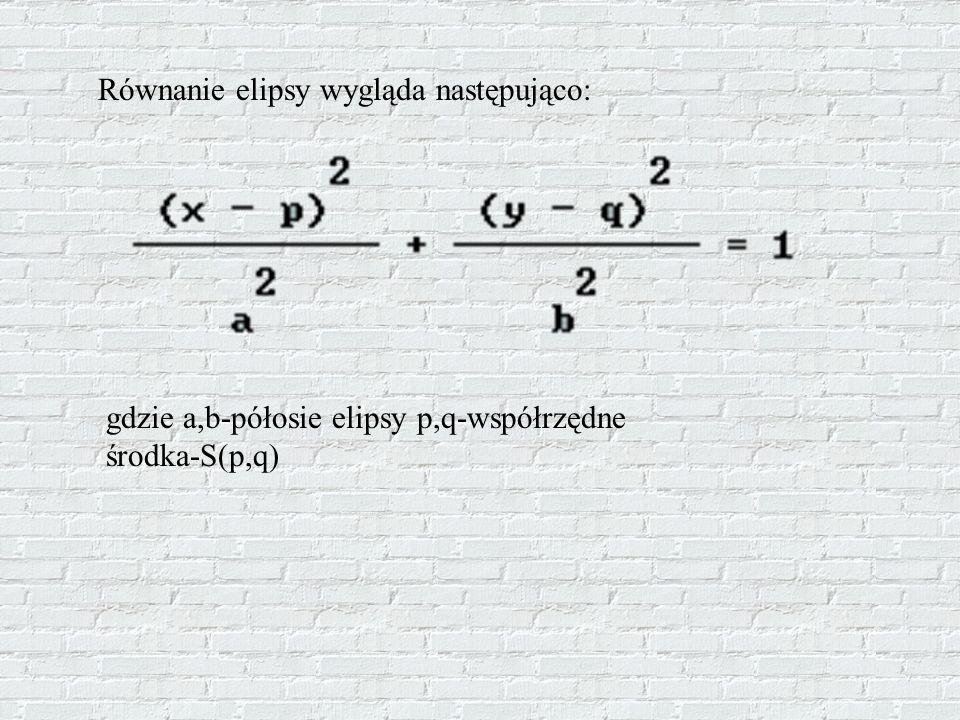 Równanie elipsy wygląda następująco: