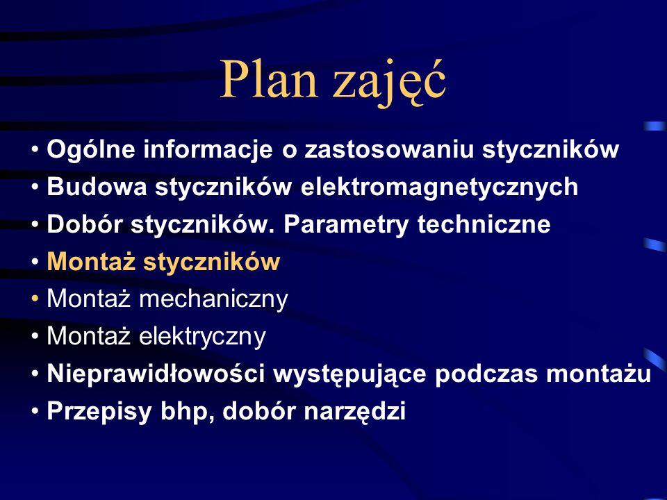 Plan zajęć Ogólne informacje o zastosowaniu styczników