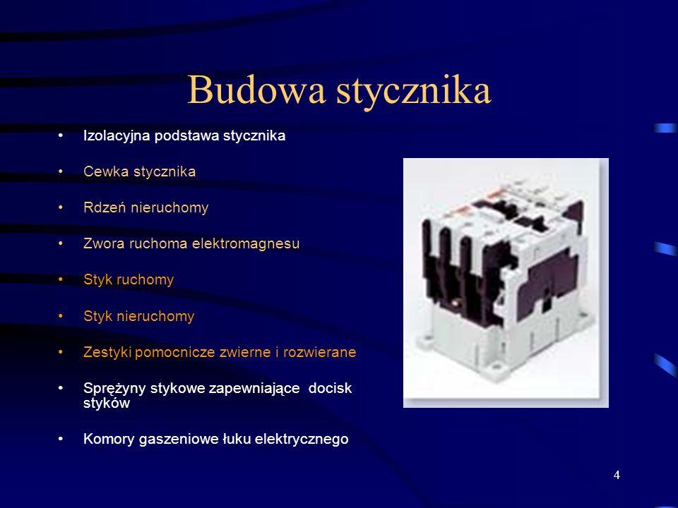 Budowa stycznika Izolacyjna podstawa stycznika Cewka stycznika
