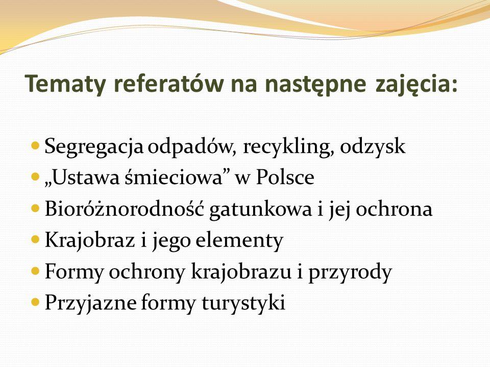 Tematy referatów na następne zajęcia: