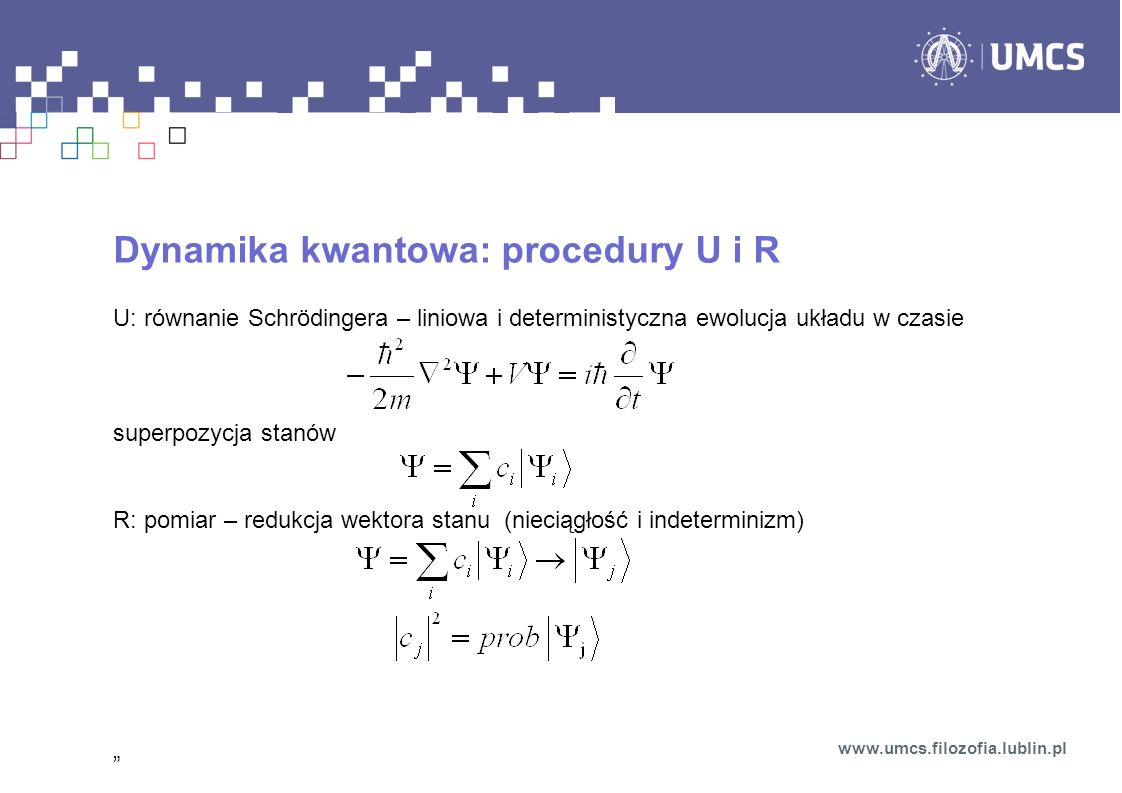 Dynamika kwantowa: procedury U i R