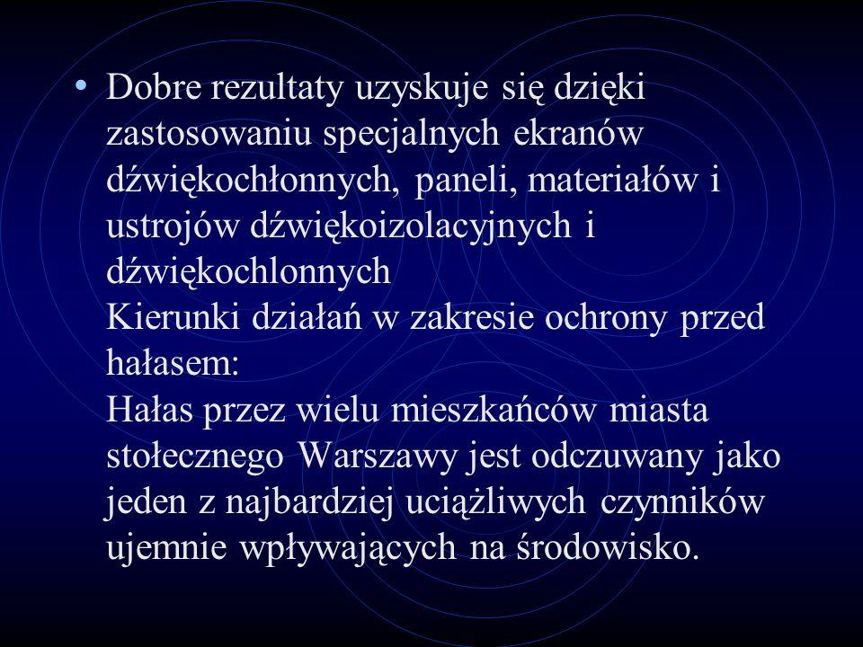 Dobre rezultaty uzyskuje się dzięki zastosowaniu specjalnych ekranów dźwiękochłonnych, paneli, materiałów i ustrojów dźwiękoizolacyjnych i dźwiękochlonnych Kierunki działań w zakresie ochrony przed hałasem: Hałas przez wielu mieszkańców miasta stołecznego Warszawy jest odczuwany jako jeden z najbardziej uciążliwych czynników ujemnie wpływających na środowisko.