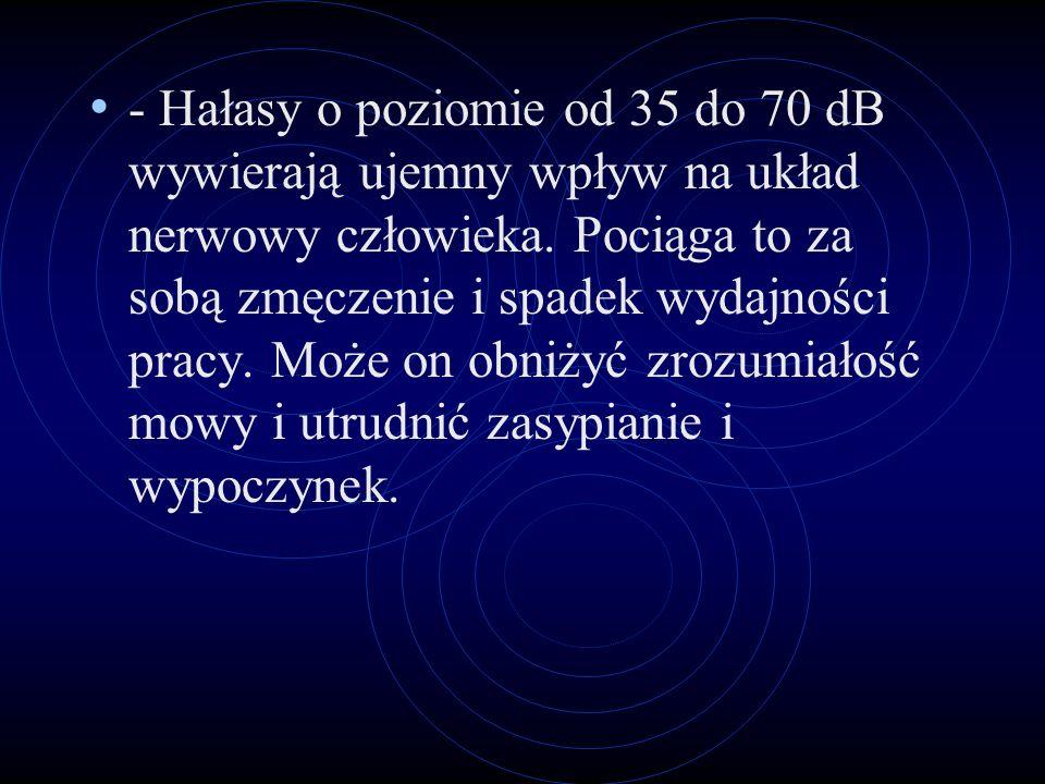 - Hałasy o poziomie od 35 do 70 dB wywierają ujemny wpływ na układ nerwowy człowieka.